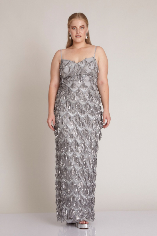 Silver plus size sequined sleeveless maxi dress