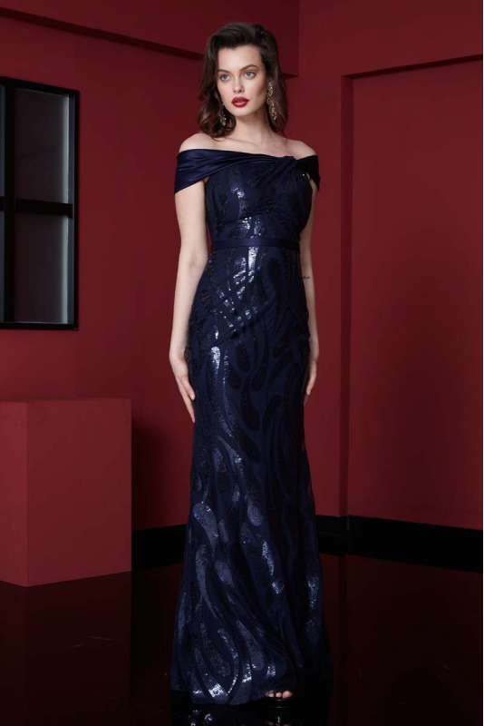 Navy blue sequined short sleeve maxi dress