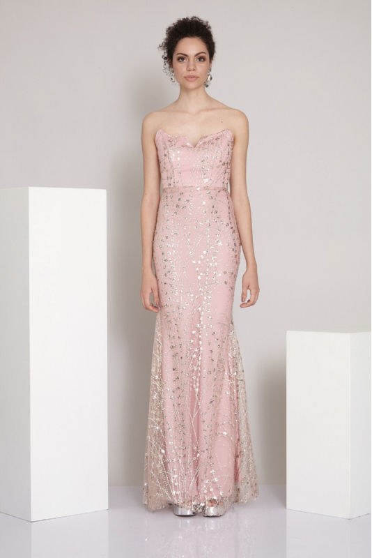 Powder sequined maxi strapless dress