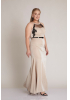 Beige plus size knitted sleeveless maxi dress