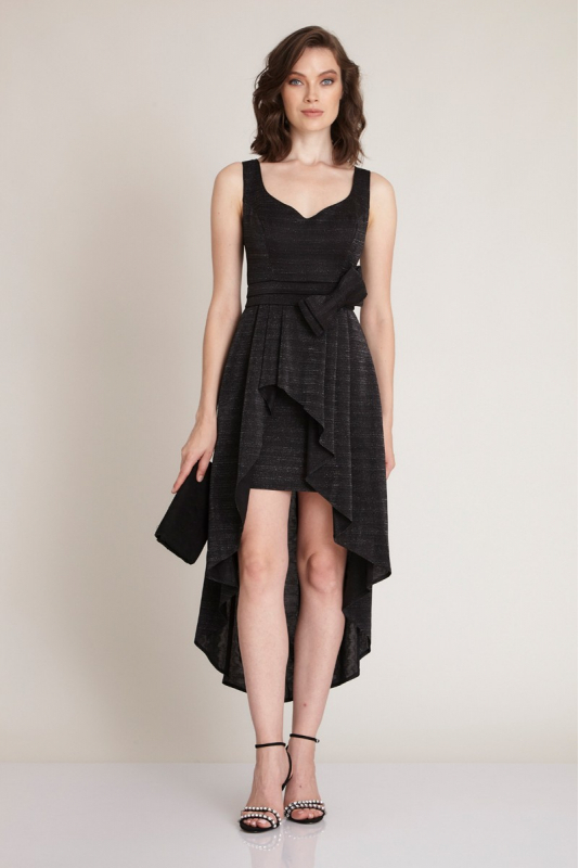 Black knitted sleeveless midi dress