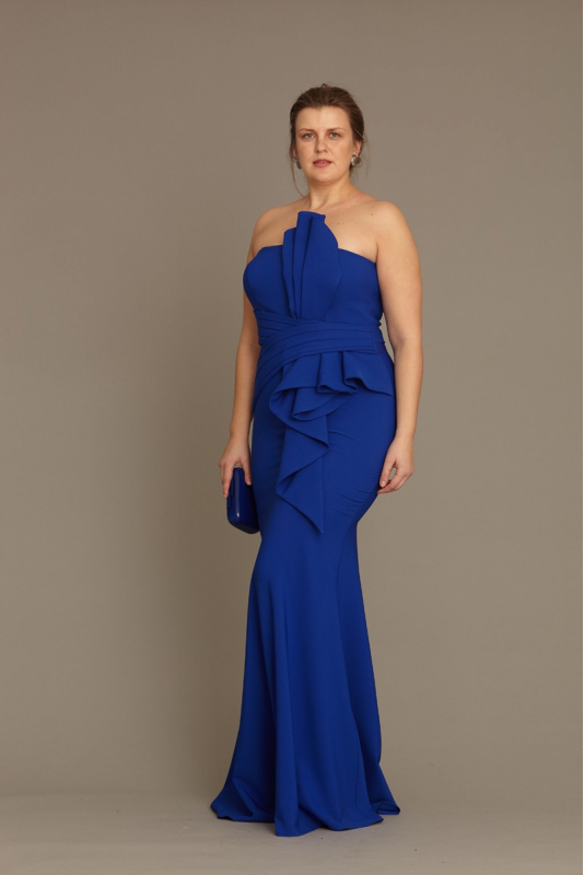 Wholesale Sax plus size crepe strapless maxi dress - Fervente