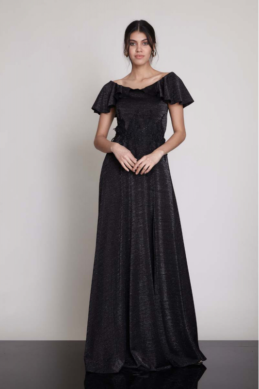 Black knitted maxi short sleeve dress