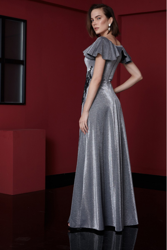 Silver knitted short sleeve maxi dress