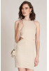 Beige knitted mini sleeveless dress