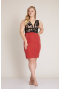 Red plus size knitted mini sleeveless dress