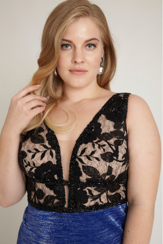 Sax plus size knitted sleeveless mini dress