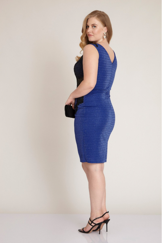Sax plus size knitted mini sleeveless dress