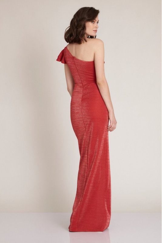 Red knitted maxi dress