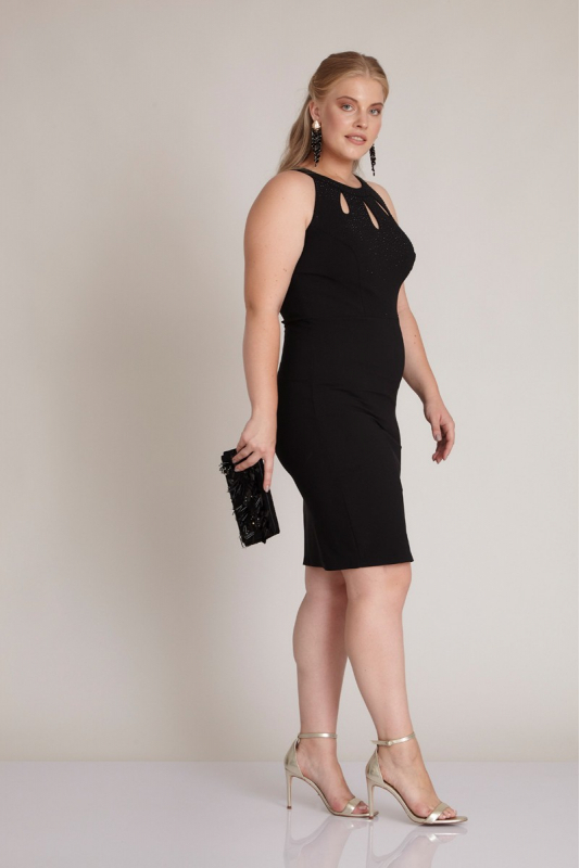 Wholesale Black plus size crepe sleeveless mini dress 961300-001 - Fervente