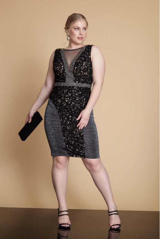 Silver plus size knitted sleeveless mini dress