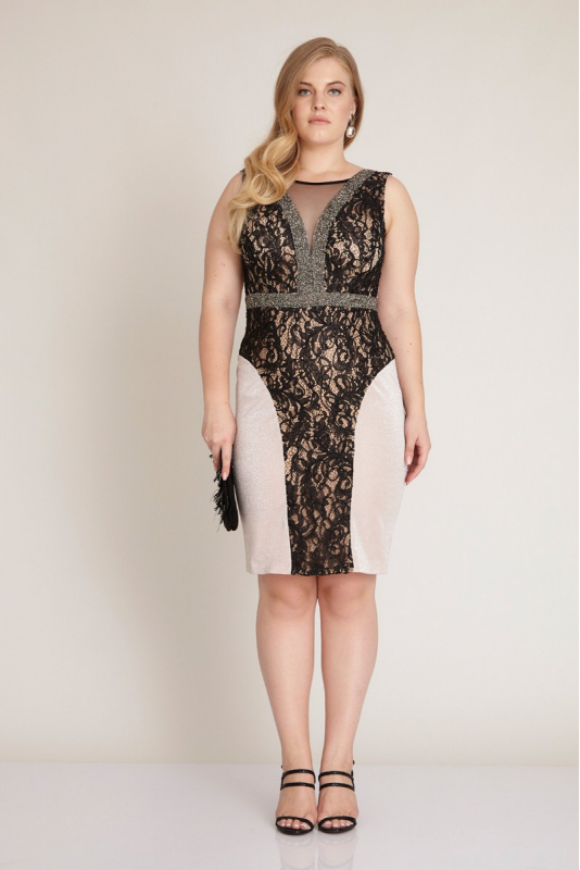 Powder plus size knitted mini sleeveless dress
