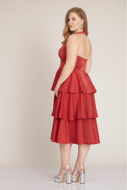 Red plus size knitted sleeveless midi dress