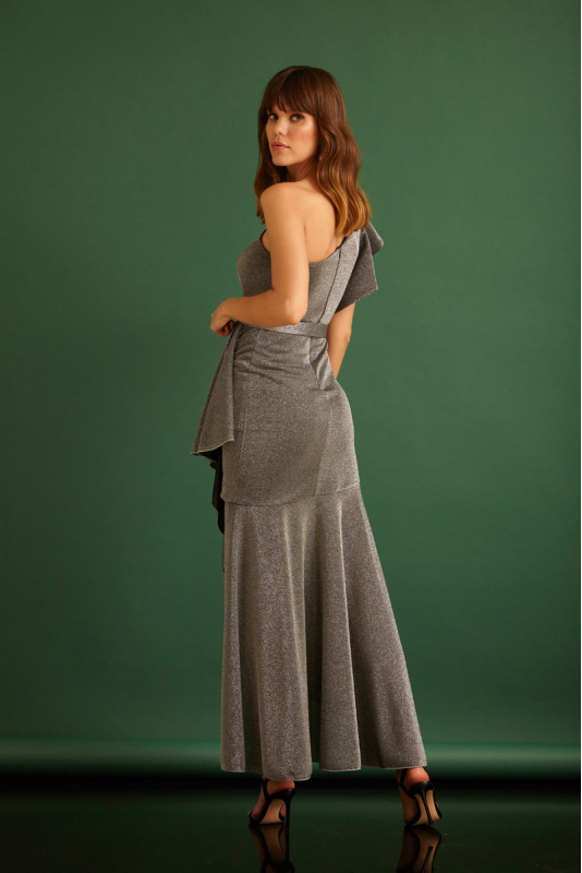 Silver knitted midi dress