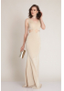 Beige knitted maxi sleeveless dress