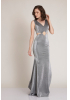 Silver knitted maxi sleeveless dress