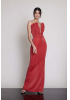 Red knitted strapless maxi dress