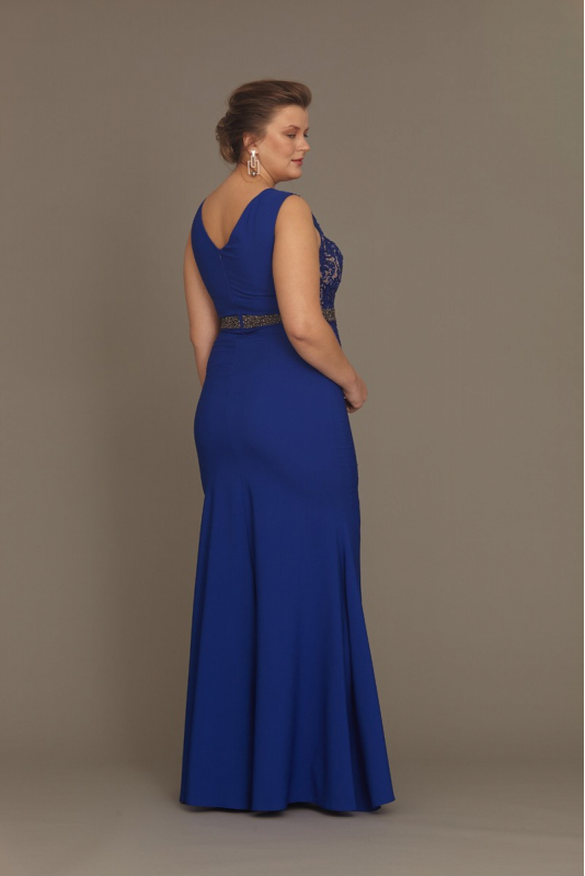 Sax plus size crepe sleeveless maxi dress