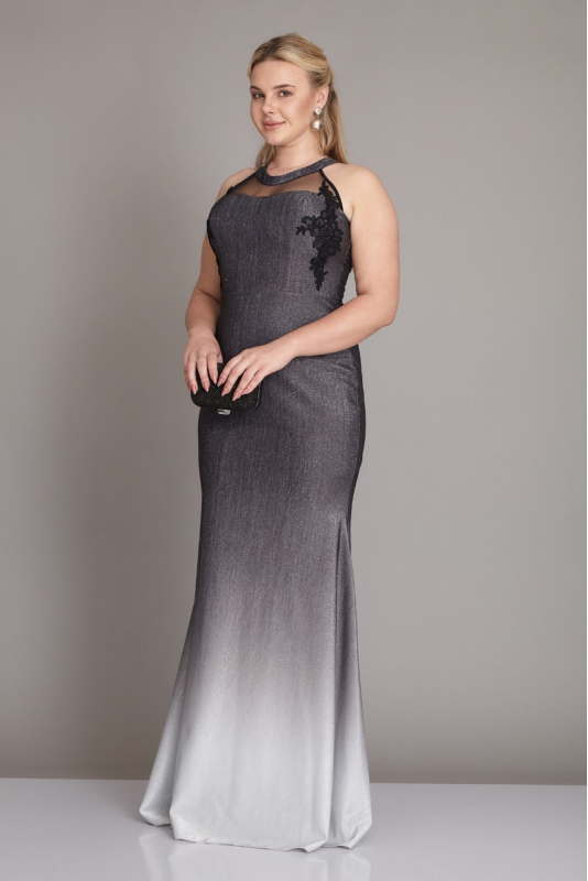 Wholesale Black-white plus size knitted sleeveless maxi dress 961438-035 -  Fervente