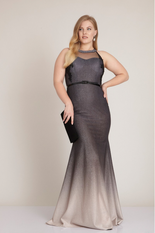 Silver leaf 080 plus size knitted maxi sleeveless dress