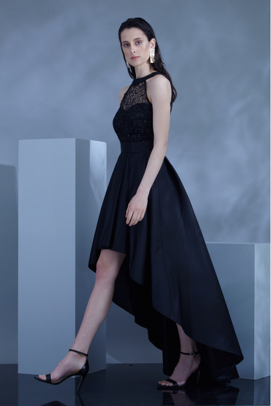 Black satin sleeveless maxi dress