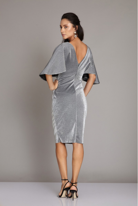 Silver knitted midi short sleeve dress
