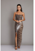 Gold sequined sleeveless maxi dress
