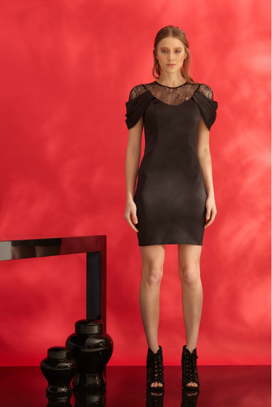 Black satin short sleeve mini dress