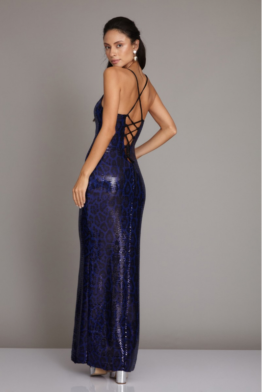 Sax sequined sleeveless maxi dress