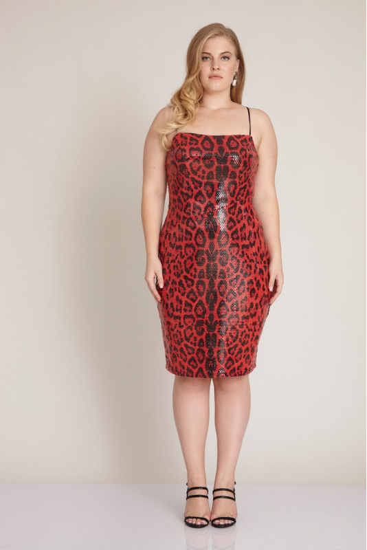 Red plus size sequined sleeveless mini dress