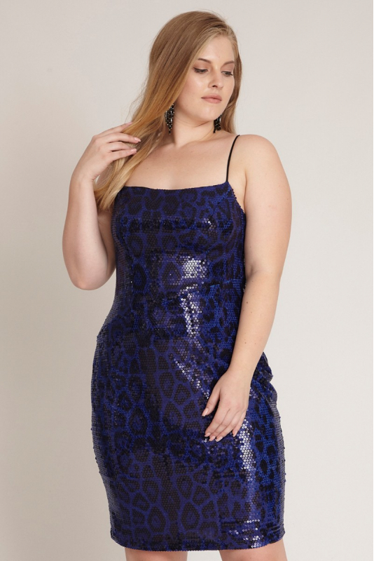 Sax plus size sequined sleeveless mini dress