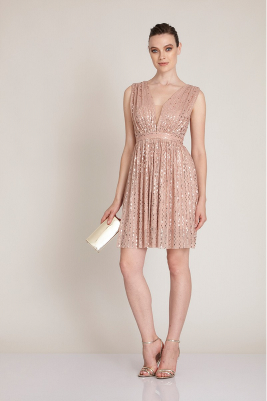 Powder sequined sleeveless mini dress