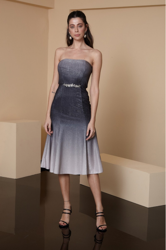 Silver leaf 080 knitted strapless midi dress