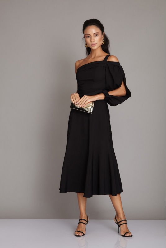 Black crepe midi dress