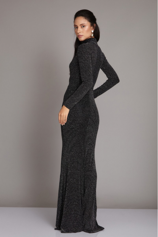 Black knitted long sleeve maxi dress