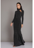 Black knitted maxi long sleeve dress