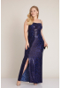 Sax plus size sequined sleeveless maxi dress