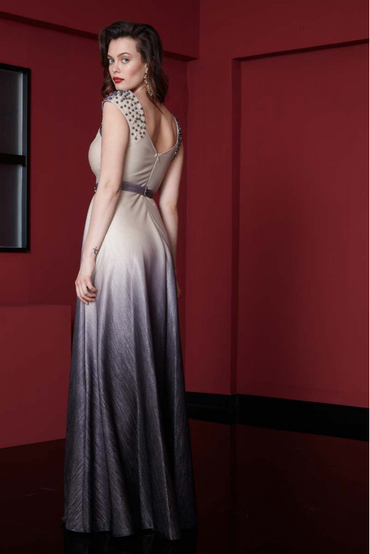 Silver leaf 080 knitted short sleeve maxi dress