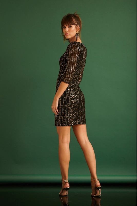 Black sequined 3/4 sleeve mini dress