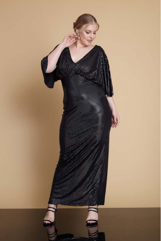 Black plus size sequined maxi short sleeve dress