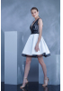 White satin sleeveless mini dress
