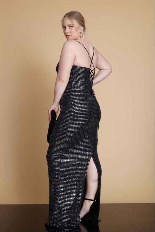 Silver plus size sequined maxi sleeveless dress