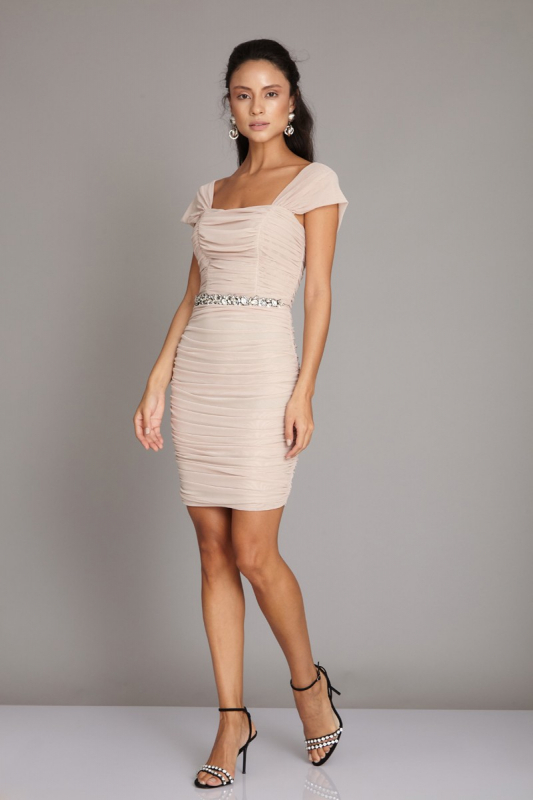 Beige tulle sleeveless mini dress
