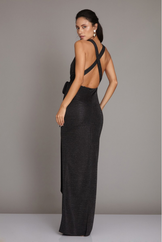 Black knitted maxi sleeveless dress