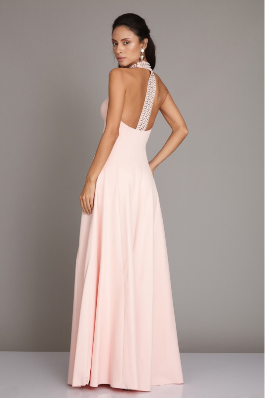 Powder crepe maxi sleeveless dress