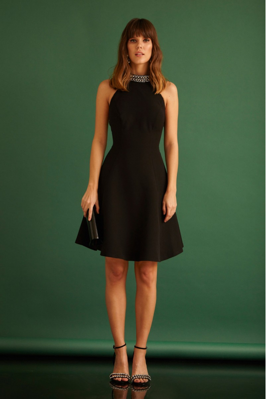 Black crepe mini sleeveless dress
