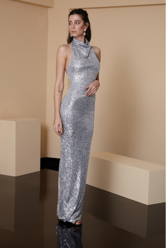 Silver sequined maxi sleeveless dress