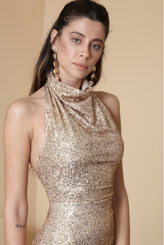 Beige sequined maxi sleeveless dress