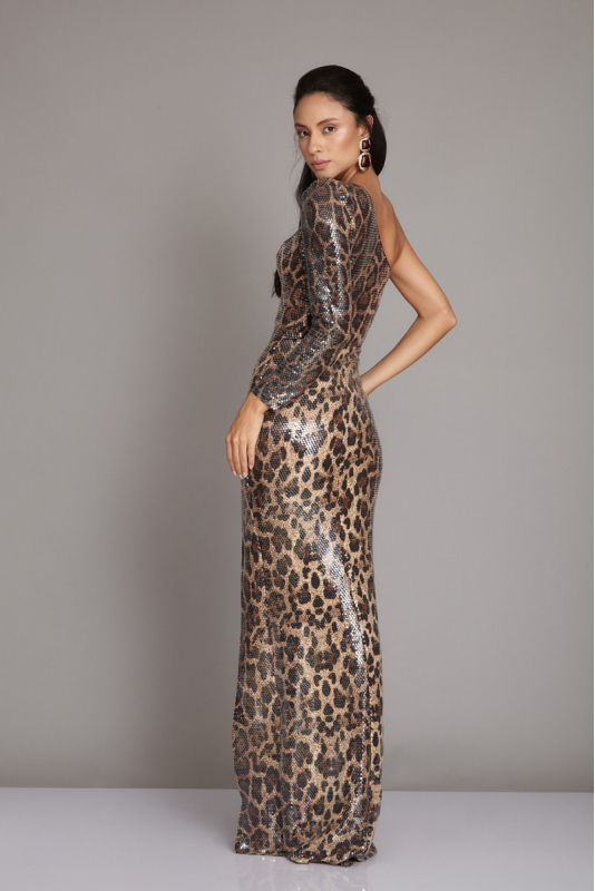 Gold sequined maxi dress