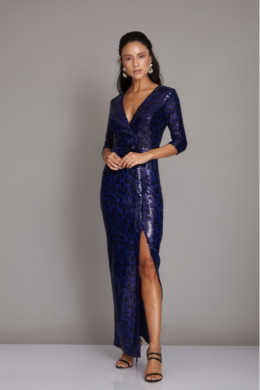 Sax sequined maxi short sleeve dress
